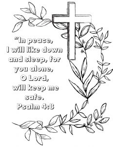 Cross background with ivy and Bible verse.